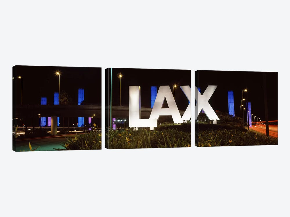 Neon sign at an airport, LAX Airport, City Of Los Angeles, Los Angeles County, California, USA by Panoramic Images 3-piece Art Print