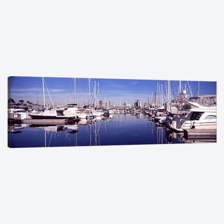 Sailboats at a harbor, Long Beach, Los Angeles County, California, USA Canvas Print #PIM8958} by Panoramic Images Canvas Art Print