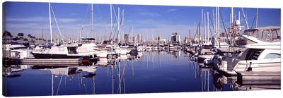 Sailboats at a harbor, Long Beach, Los Angeles County, California, USA Canvas Art Print