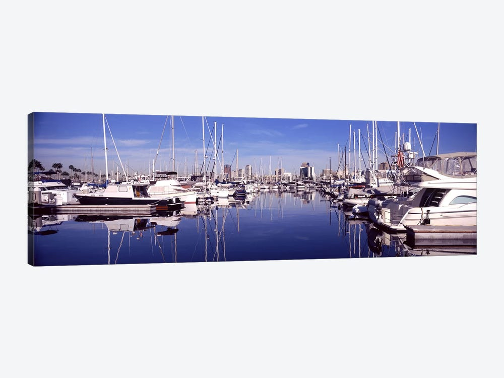 Sailboats at a harbor, Long Beach, Los Angeles County, California, USA by Panoramic Images 1-piece Canvas Art