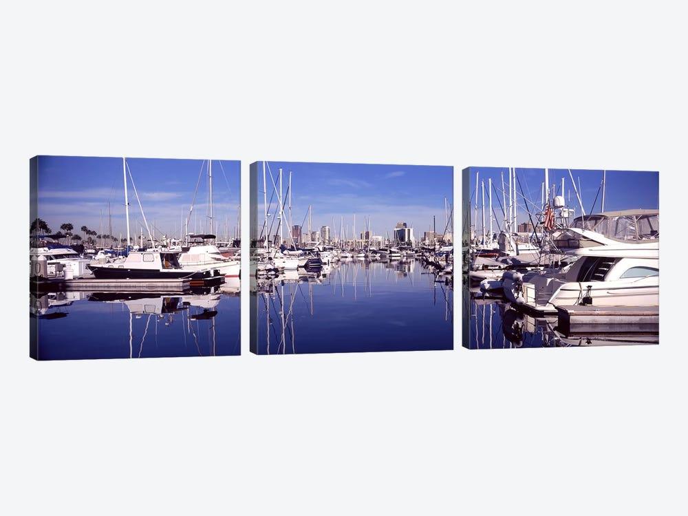 Sailboats at a harbor, Long Beach, Los Angeles County, California, USA by Panoramic Images 3-piece Canvas Artwork