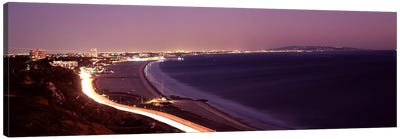 City lit up at night, Highway 101, Santa Monica, Los Angeles County, California, USA Canvas Art Print