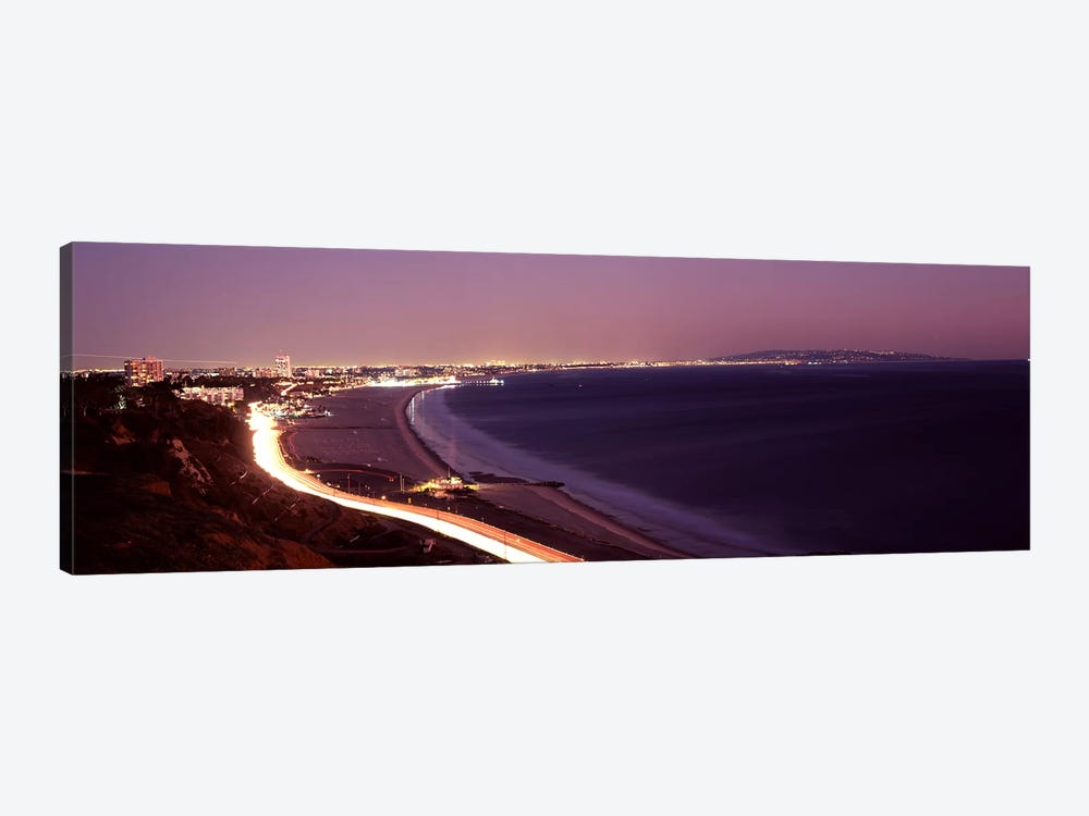 City lit up at night, Highway 101, Santa Monica, Los Angeles County, California, USA by Panoramic Images 1-piece Art Print
