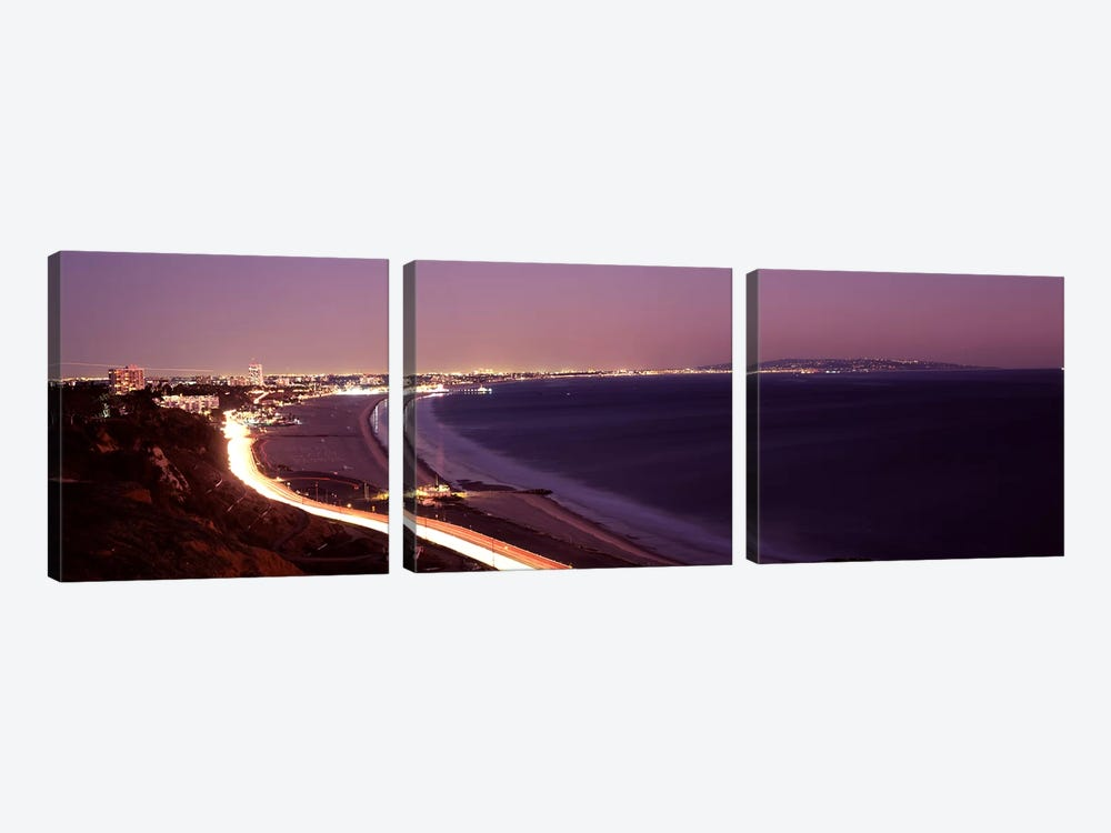 City lit up at night, Highway 101, Santa Monica, Los Angeles County, California, USA by Panoramic Images 3-piece Art Print