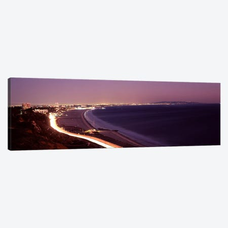 City lit up at night, Highway 101, Santa Monica, Los Angeles County, California, USA 3-Piece Canvas #PIM8959} by Panoramic Images Canvas Print