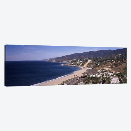 High angle view of a beach, Highway 101, Malibu Beach, Malibu, Los Angeles County, California, USA Canvas Print #PIM8961} by Panoramic Images Canvas Artwork