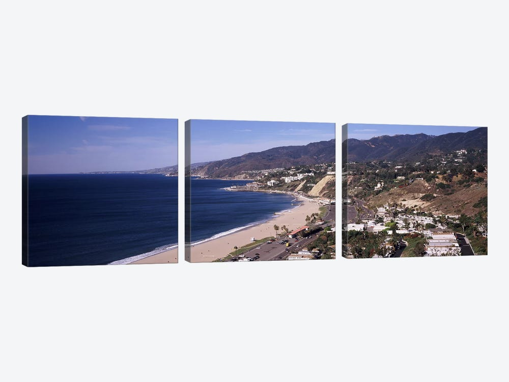 High angle view of a beach, Highway 101, Malibu Beach, Malibu, Los Angeles County, California, USA by Panoramic Images 3-piece Canvas Wall Art