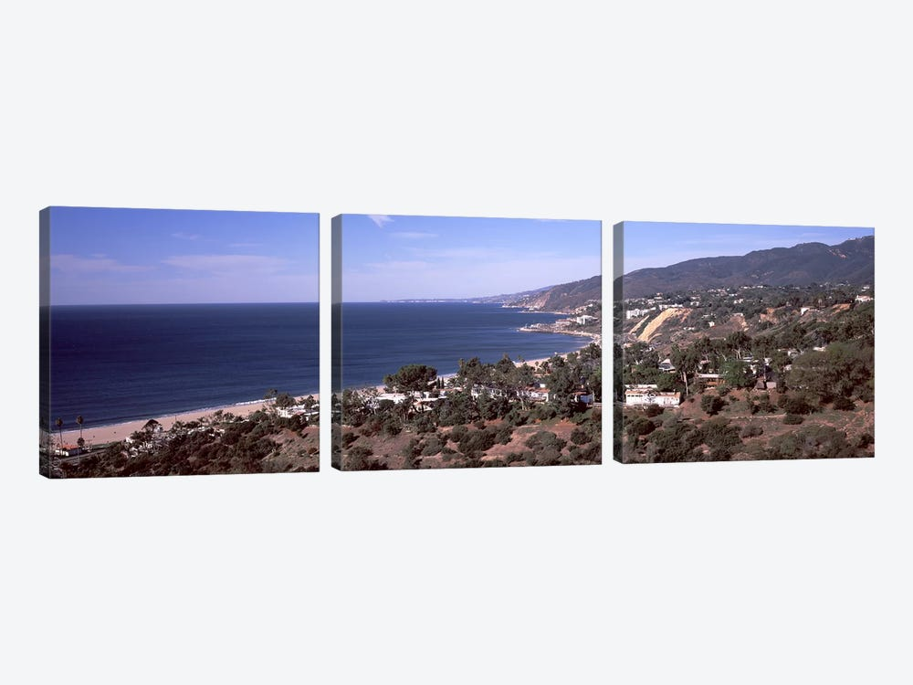High angle view of an ocean, Malibu Beach, Malibu, Los Angeles County, California, USA by Panoramic Images 3-piece Art Print