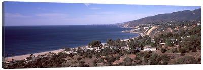 High angle view of an ocean, Malibu Beach, Malibu, Los Angeles County, California, USA Canvas Art Print
