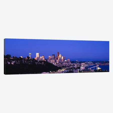 Buildings in a city, Elliott Bay, Seattle, Washington State, USA 2010 Canvas Print #PIM8969} by Panoramic Images Canvas Wall Art