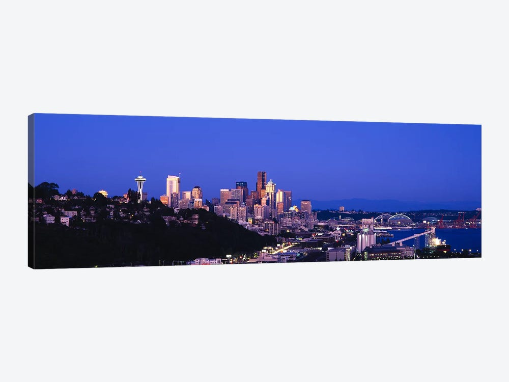 Buildings in a city, Elliott Bay, Seattle, Washington State, USA 2010 by Panoramic Images 1-piece Canvas Wall Art