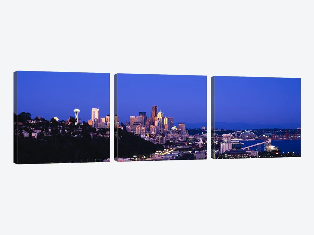 Buildings in a city, Elliott Bay, Seattle, Washington State, USA 2010 by Panoramic Images 3-piece Canvas Artwork