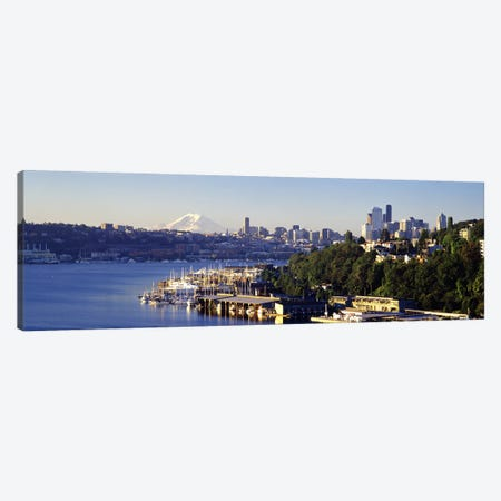Buildings at the waterfront, Lake Union, Seattle, Washington State, USA 2010 Canvas Print #PIM8970} by Panoramic Images Canvas Art Print