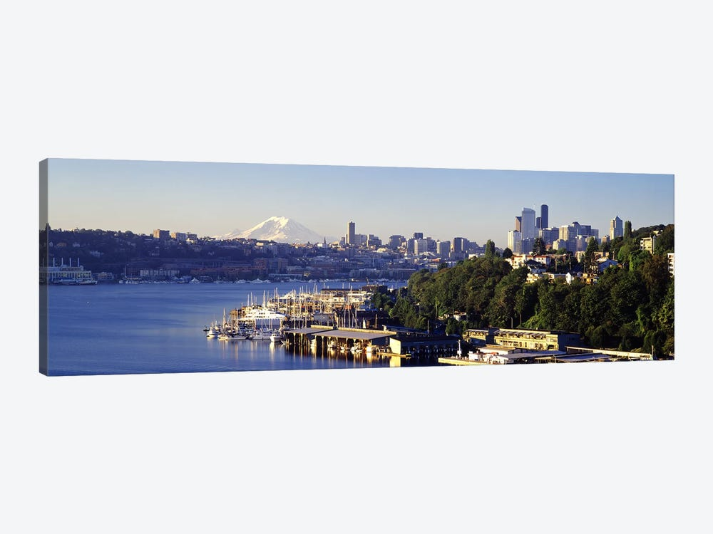 Buildings at the waterfront, Lake Union, Seattle, Washington State, USA 2010 by Panoramic Images 1-piece Canvas Artwork