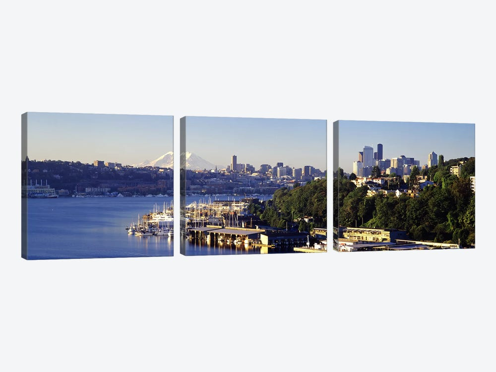 Buildings at the waterfront, Lake Union, Seattle, Washington State, USA 2010 by Panoramic Images 3-piece Canvas Wall Art