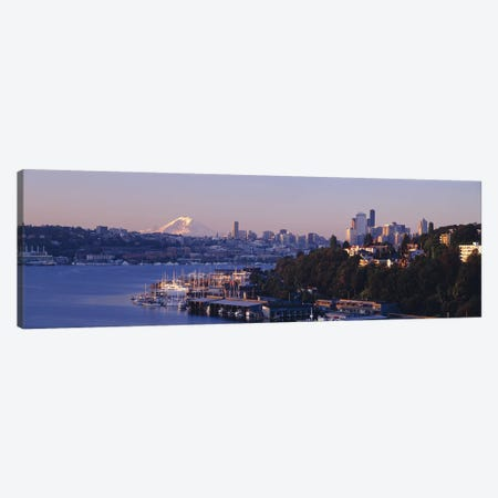 Buildings at the waterfront, Lake Union, Seattle, Washington State, USA Canvas Print #PIM8971} by Panoramic Images Art Print