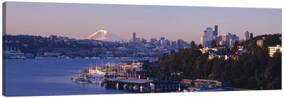Buildings at the waterfront, Lake Union, Seattle, Washington State, USA Canvas Print #PIM8971