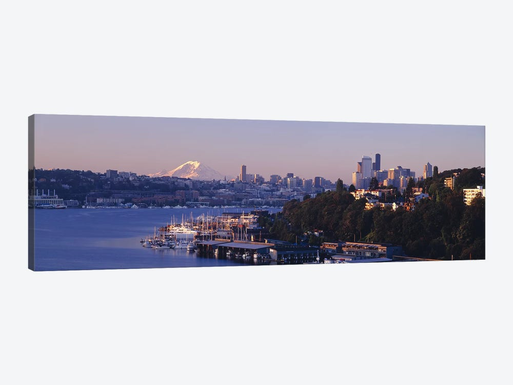 Buildings at the waterfront, Lake Union, Seattle, Washington State, USA by Panoramic Images 1-piece Art Print