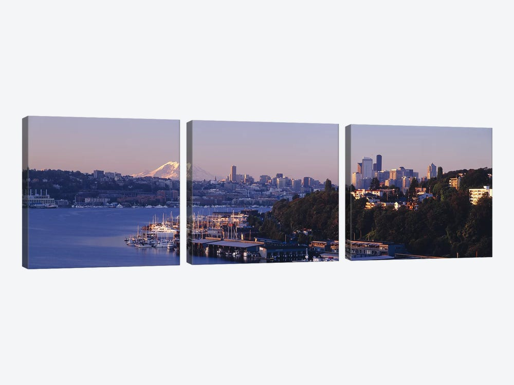 Buildings at the waterfront, Lake Union, Seattle, Washington State, USA by Panoramic Images 3-piece Art Print
