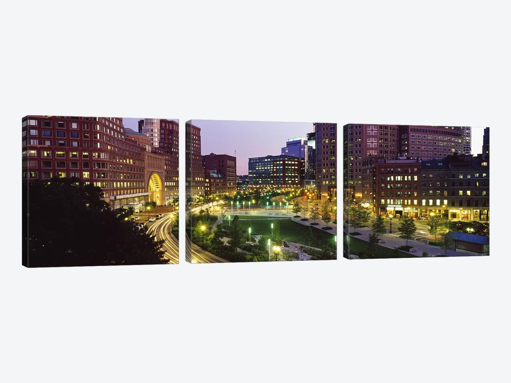 Buildings in a city, Atlantic Avenue, Wharf District, Boston, Suffolk County, Massachusetts, USA 2010 by Panoramic Images 3-piece Canvas Wall Art