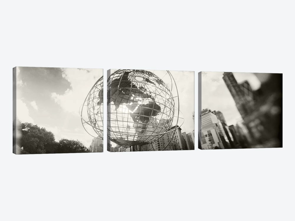 Steel globe, Columbus Circle, Manhattan, New York City, New York State, USA by Panoramic Images 3-piece Canvas Wall Art