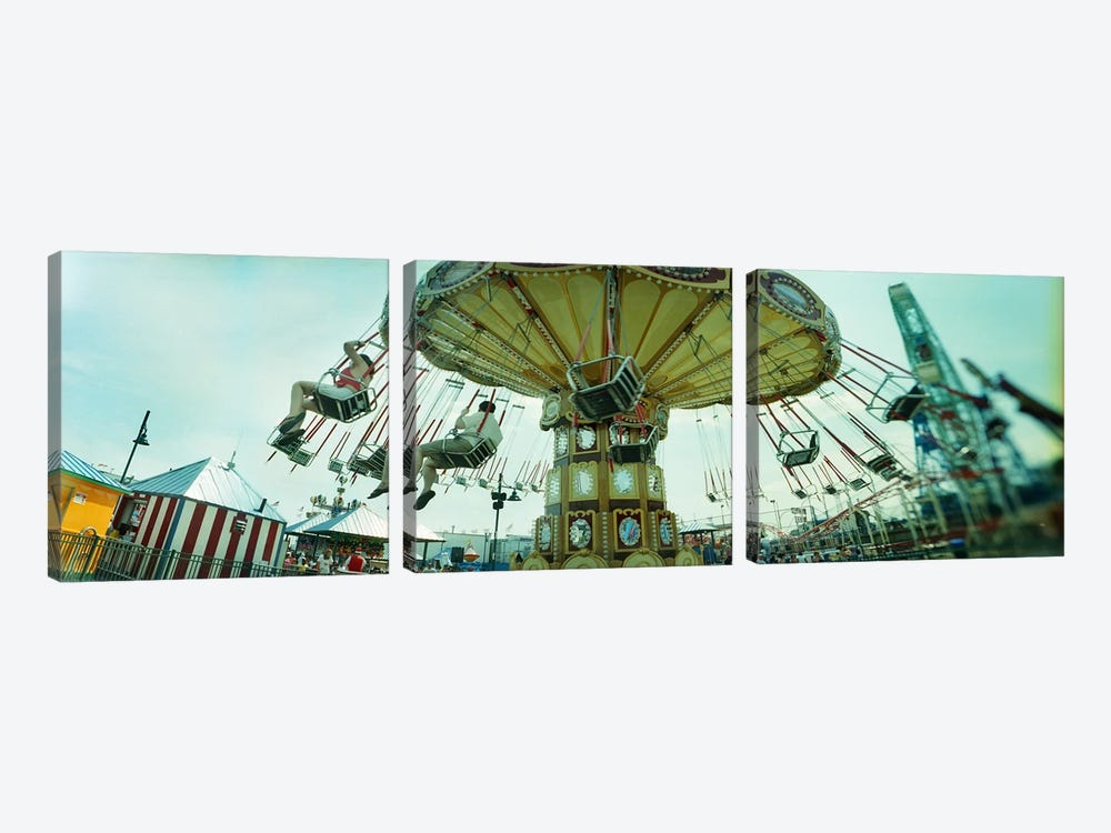 Tourists riding on an amusement park ride, Lynn's Trapeze, Luna Park, Coney Island, Brooklyn, New York City, New York State, USA by Panoramic Images 3-piece Canvas Wall Art