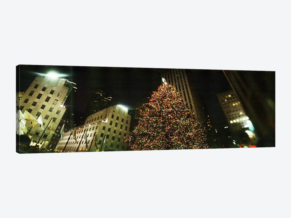 Christmas tree lit up at night, Rockefeller Center, Manhattan, New York City, New York State, USA by Panoramic Images 1-piece Canvas Art