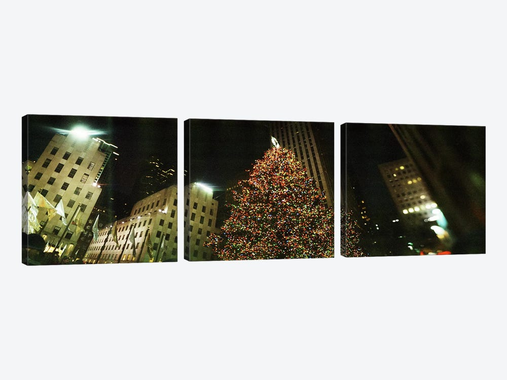 Christmas tree lit up at night, Rockefeller Center, Manhattan, New York City, New York State, USA by Panoramic Images 3-piece Canvas Art