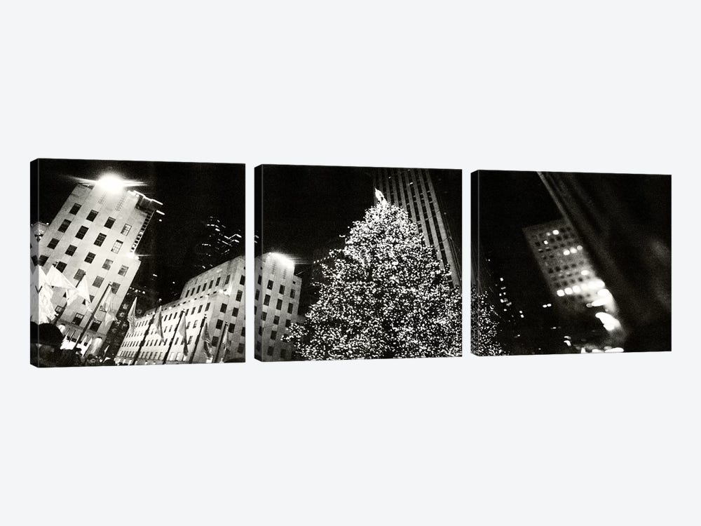 Christmas tree lit up at night, Rockefeller Center, Manhattan, New York City, New York State, USA #2 by Panoramic Images 3-piece Canvas Print