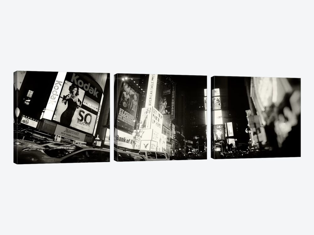 Buildings lit up at night, Times Square, Manhattan, New York City, New York State, USA #2 by Panoramic Images 3-piece Canvas Art