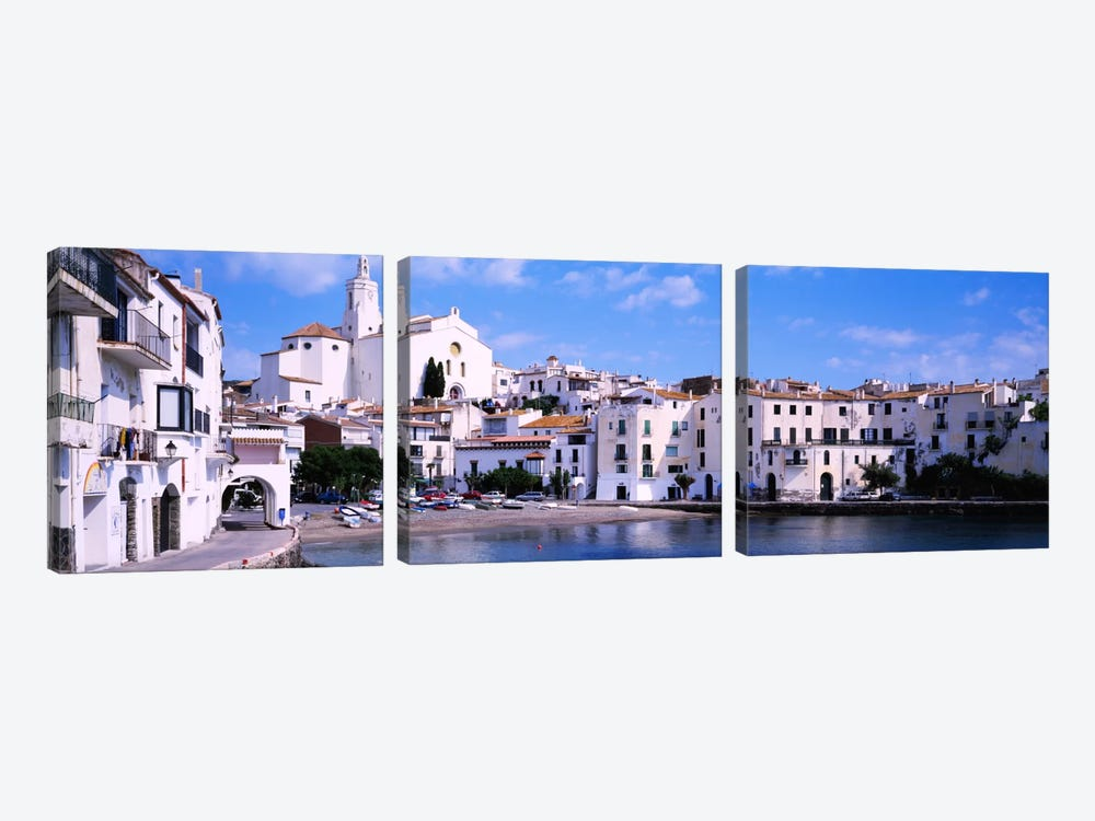 Buildings On The Waterfront, Cadaques, Costa Brava, Spain 3-piece Canvas Art