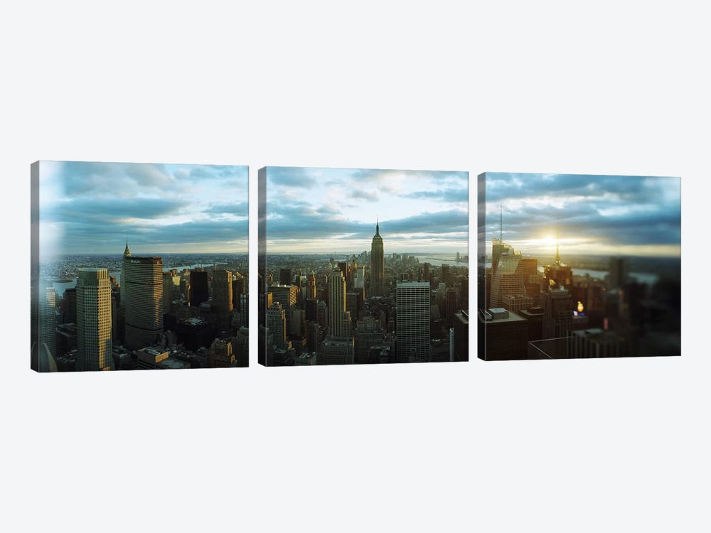 Buildings in a city, Empire State Building, Manhattan, New York City, New York State, USA 2011 by Panoramic Images 3-piece Canvas Artwork