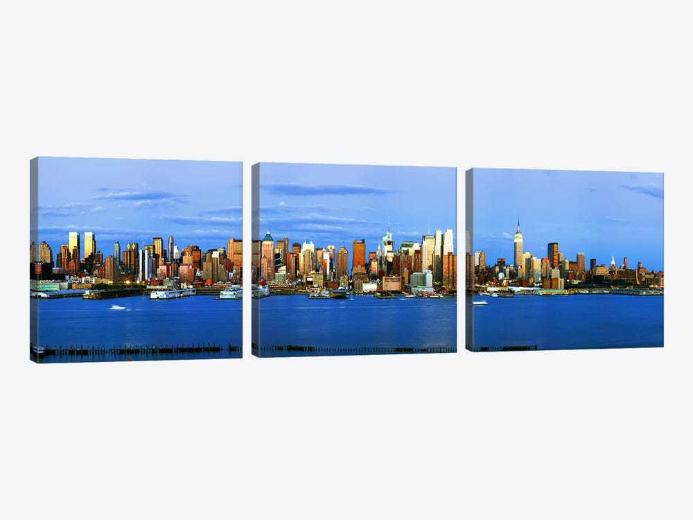 Skyscrapers in a city, Manhattan, New York City, New York State, USA #2 by Panoramic Images 3-piece Canvas Wall Art