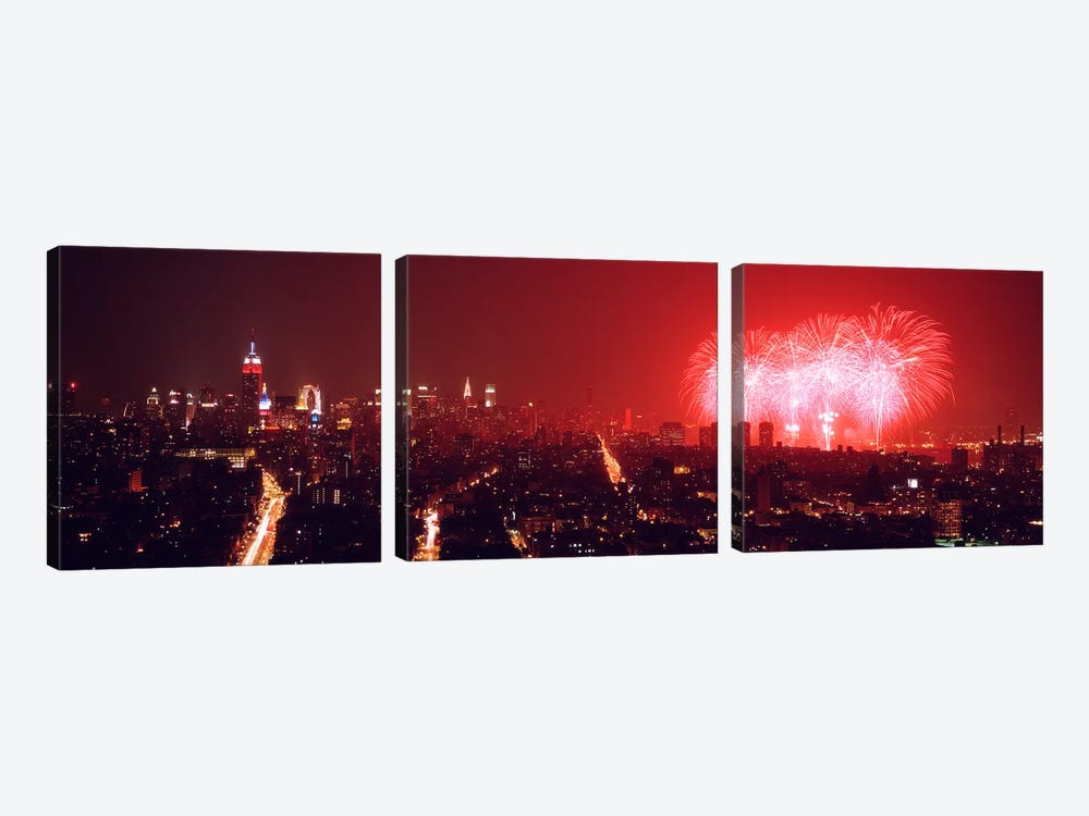 Fireworks display at night over a city, New York City, New York State, USA by Panoramic Images 3-piece Art Print