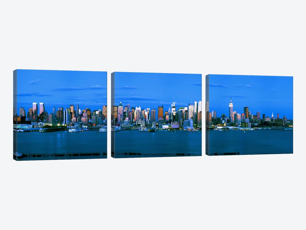 Skyscrapers in a city, Manhattan, New York City, New York State, USA #3 3-piece Canvas Wall Art