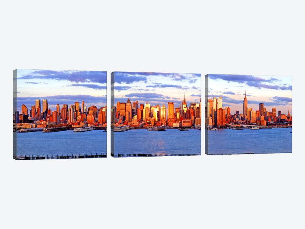 Skyscrapers in a city, Manhattan, New York City, New York State, USA #4 by Panoramic Images 3-piece Canvas Art Print