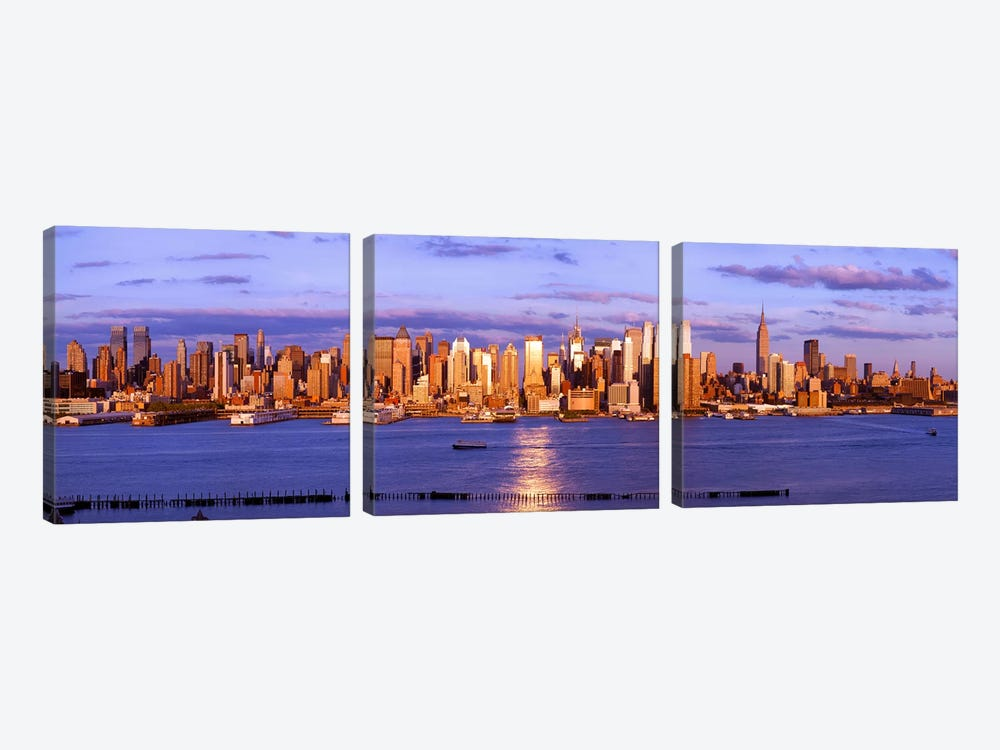 Skyscrapers in a city, Manhattan, New York City, New York State, USA #5 3-piece Canvas Art