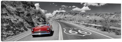 Vintage car moving on the road, Route 66, Arizona, USA by Panoramic Images Canvas Print