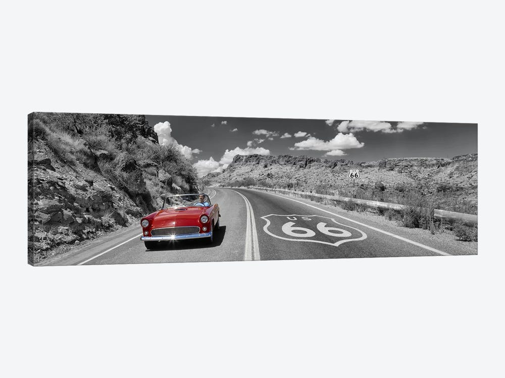 Vintage car moving on the road, Route 66, Arizona, USA by Panoramic Images 1-piece Canvas Print