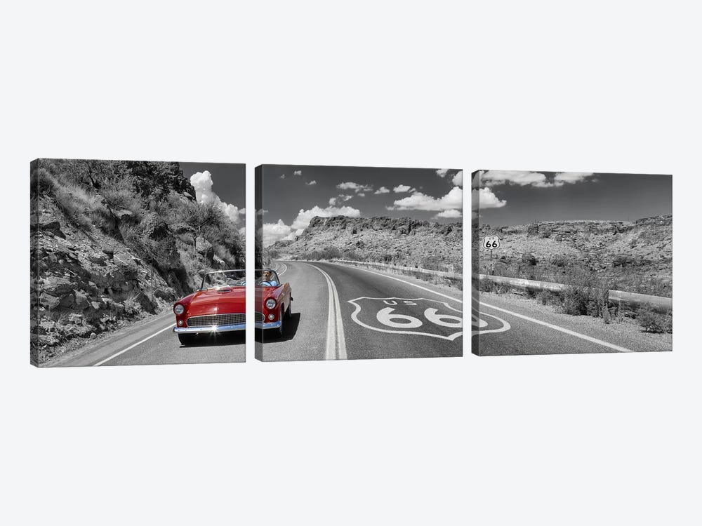 Vintage car moving on the road, Route 66, Arizona, USA by Panoramic Images 3-piece Art Print