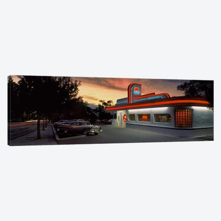 Cars parked outside a restaurant, Route 66, Albuquerque, New Mexico, USA Canvas Print #PIM9012} by Panoramic Images Canvas Art Print
