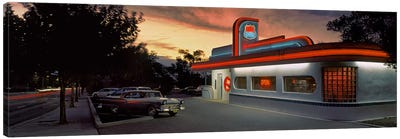 Cars parked outside a restaurant, Route 66, Albuquerque, New Mexico, USA Canvas Art Print