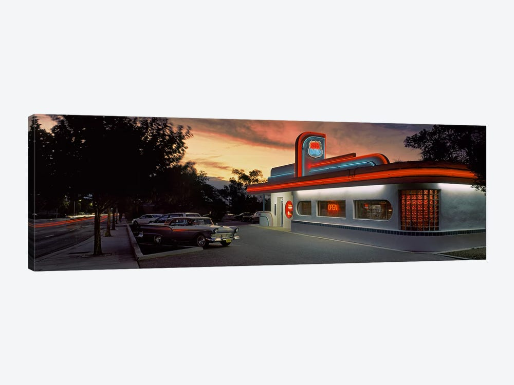 Cars parked outside a restaurant, Route 66, Albuquerque, New Mexico, USA by Panoramic Images 1-piece Canvas Wall Art