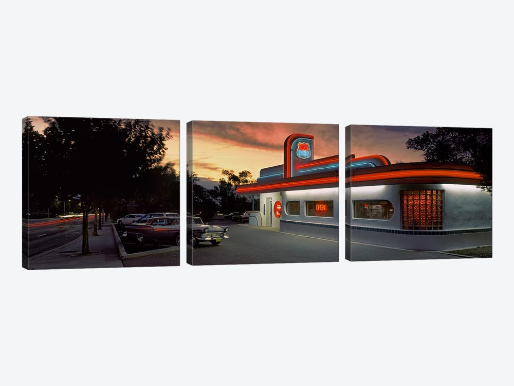 Cars parked outside a restaurant, Route 66, Albuquerque, New Mexico, USA by Panoramic Images 3-piece Canvas Art