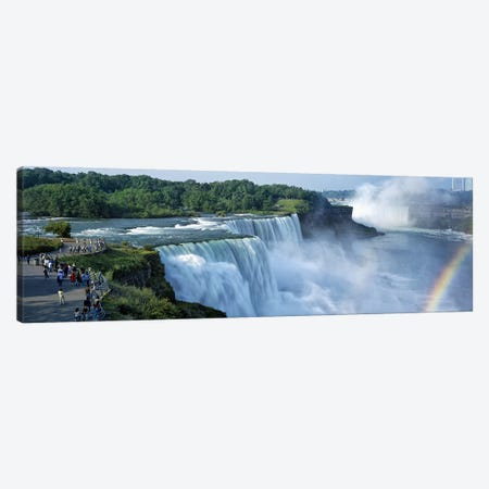 Tourists at a waterfall, Niagara Falls, Niagara River, Niagara County, New York State, USA Canvas Print #PIM9013} by Panoramic Images Art Print