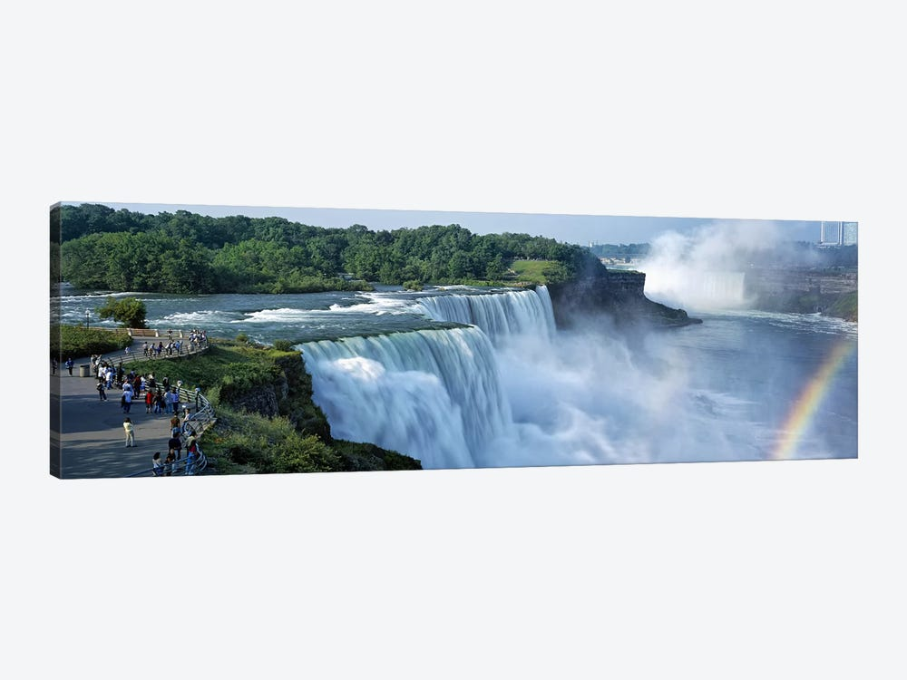 Tourists at a waterfall, Niagara Falls, Niagara River, Niagara County, New York State, USA by Panoramic Images 1-piece Canvas Print