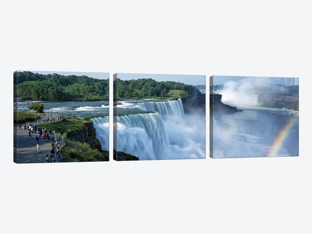 Tourists at a waterfall, Niagara Falls, Niagara River, Niagara County, New York State, USA by Panoramic Images 3-piece Canvas Print