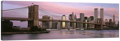 Bridge across a river, Brooklyn Bridge, Manhattan, New York City, New York State, USA Canvas Art Print