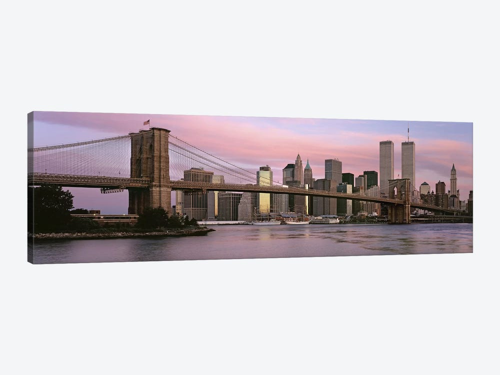 Bridge across a river, Brooklyn Bridge, Manhattan, New York City, New York State, USA 1-piece Canvas Artwork
