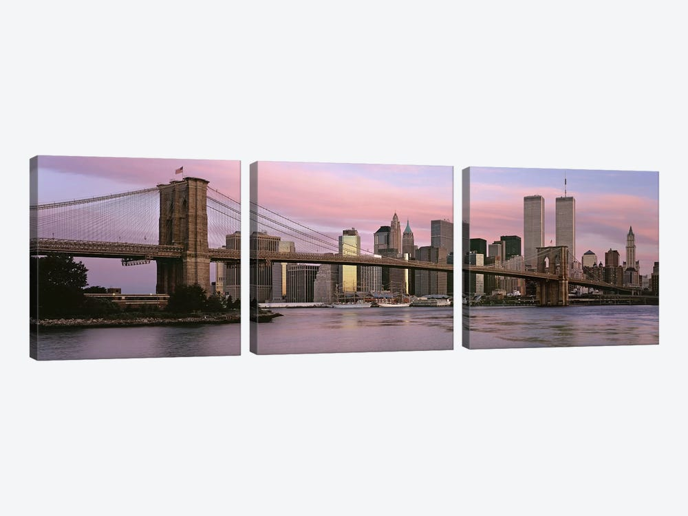 Bridge across a river, Brooklyn Bridge, Manhattan, New York City, New York State, USA 3-piece Canvas Art